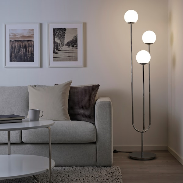 SIMRISHAMN Floor lamp, chrome-plated/opal white glass