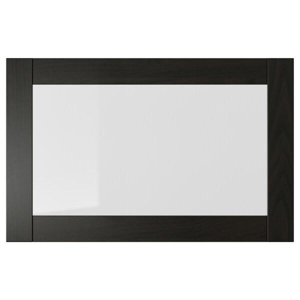 SINDVIK Glass door, black-brown/clear glass, 60x38 cm
