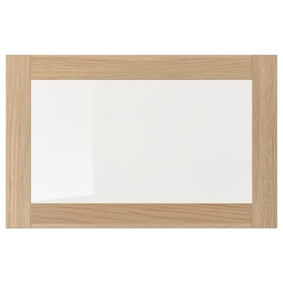 SINDVIK Glass door, white stained oak effect/clear glass, 60x38 cm