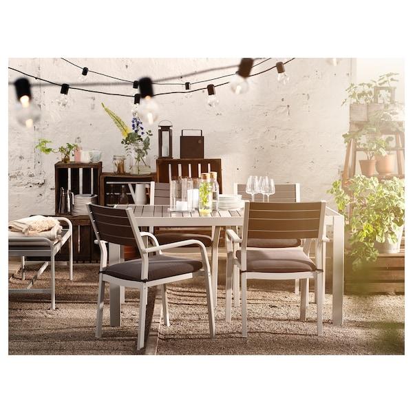 SJÄLLAND Chair with armrests, outdoor, light grey/dark grey