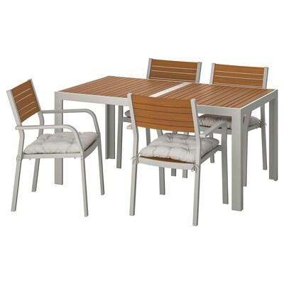 SJÄLLAND Table+4 chairs w armrests, outdoor, light brown/Kuddarna grey, 156x90 cm