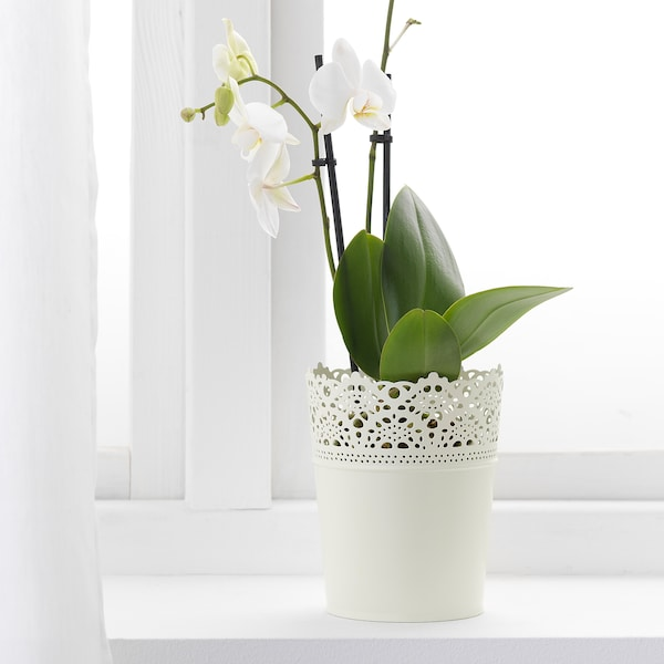 SKURAR plant pot in/outdoor/off-white 15 cm 12 cm 10.5 cm 12 cm
