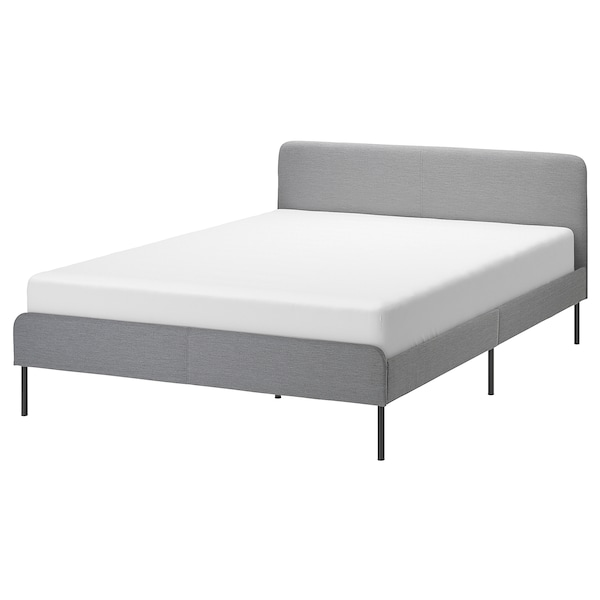 SLATTUM upholstered bed frame Knisa light grey 206 cm 164 cm 40 cm 85 cm 200 cm 160 cm
