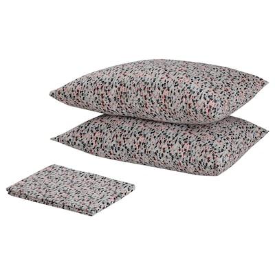 SMÅSTARR Flat sheet and 2 pillowcase, dotted/multicolour, 240x260/50x80 cm