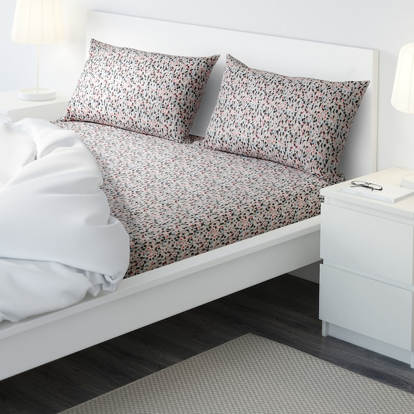 SMÅSTARR flat sheet and 2 pillowcase dotted/multicolour 152 /inch² 2 pack 50 cm 80 cm 240 cm 260 cm