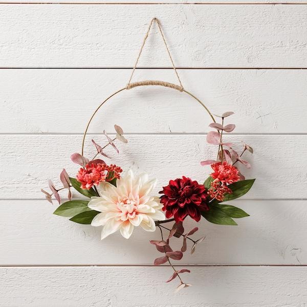 SMYCKA Artificial wreath, in/outdoor Dahlia, 40 cm
