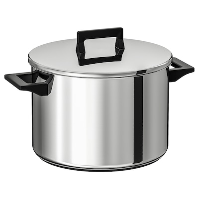 SNITSIG Pot with lid, stainless steel, 8.5 l