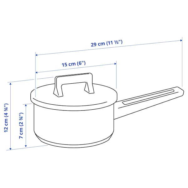 SNITSIG Saucepan with lid, stainless steel, 1 l