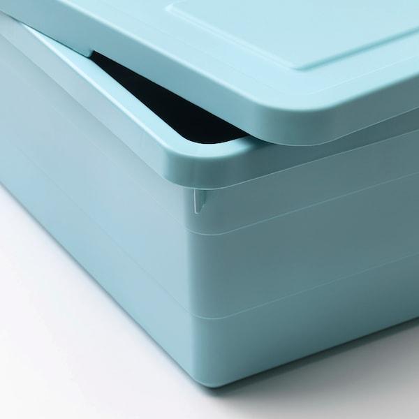 SOCKERBIT Storage box with lid, light blue, 38x25x15 cm