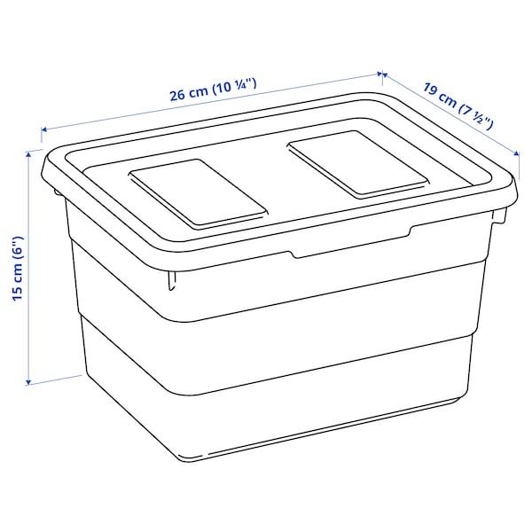 SOCKERBIT Storage box with lid, light blue, 19x26x15 cm