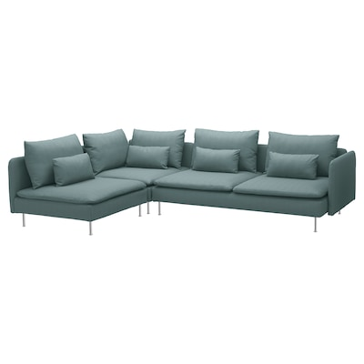 SÖDERHAMN Corner sofa, 4-seat, with open end/Finnsta turquoise