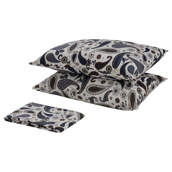 SÖTBLOMSTER flat sheet and 2 pillowcase white/blue 152 /inch² 2 pack 50 cm 80 cm 240 cm 260 cm