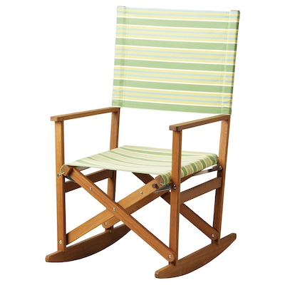SOLBLEKT rocking-chair foldable eucalyptus/striped green 100 kg 60 cm 75 cm 110 cm 45 cm 52 cm 46 cm