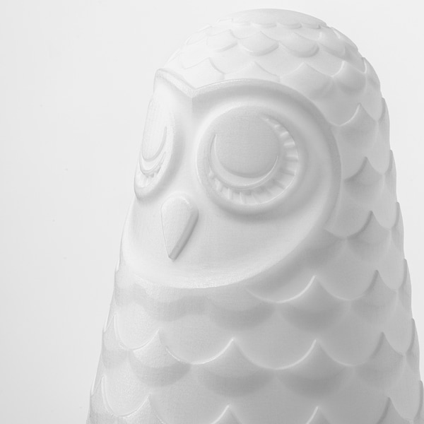 SOLBO LED table lamp, white owl/battery-operated, 14 cm