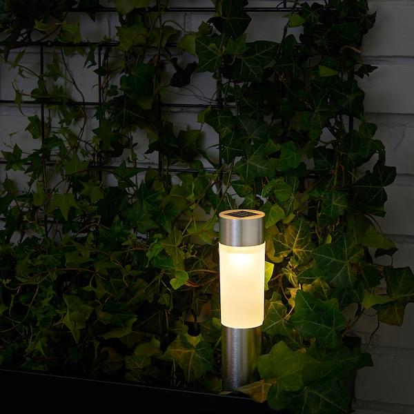 SOLVINDEN LED solar-powered lighting, cylinder/aluminium-colour