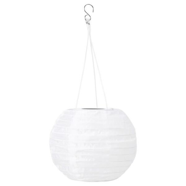SOLVINDEN LED solar-powered pendant lamp, outdoor/globe white, 22 cm