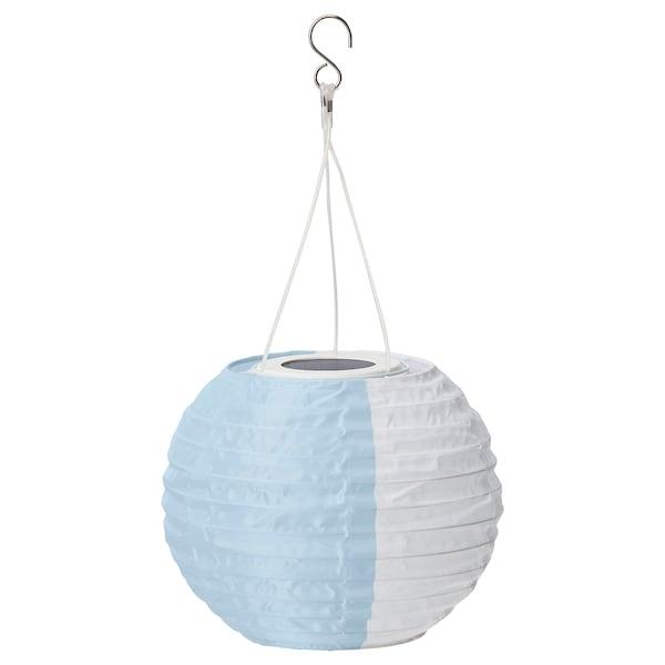 SOLVINDEN LED solar-powered pendant lamp, white blue/outdoor globe, 22 cm