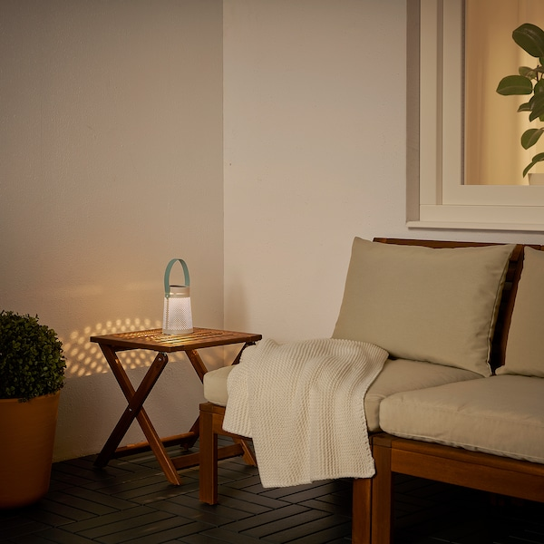 SOLVINDEN LED solar-powered table lamp, cone-shaped white, 15 cm
