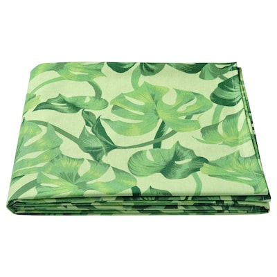 SOMMARLIV Tablecloth, leaf patterned/green, 145x320 cm