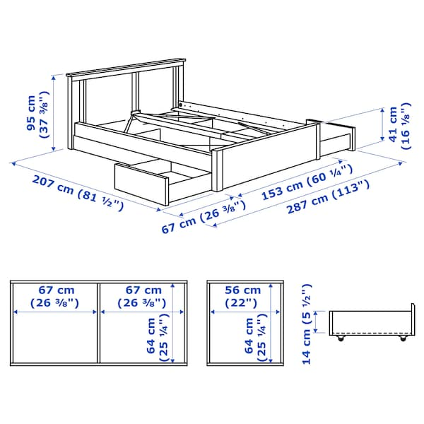 SONGESAND Bed frame with 4 storage boxes, white, 140x200 cm