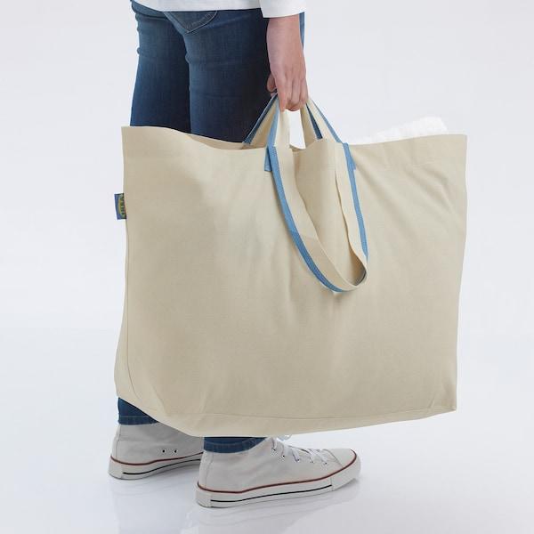 SPIKRAK Carrier bag, large, cotton/natural, 50 l
