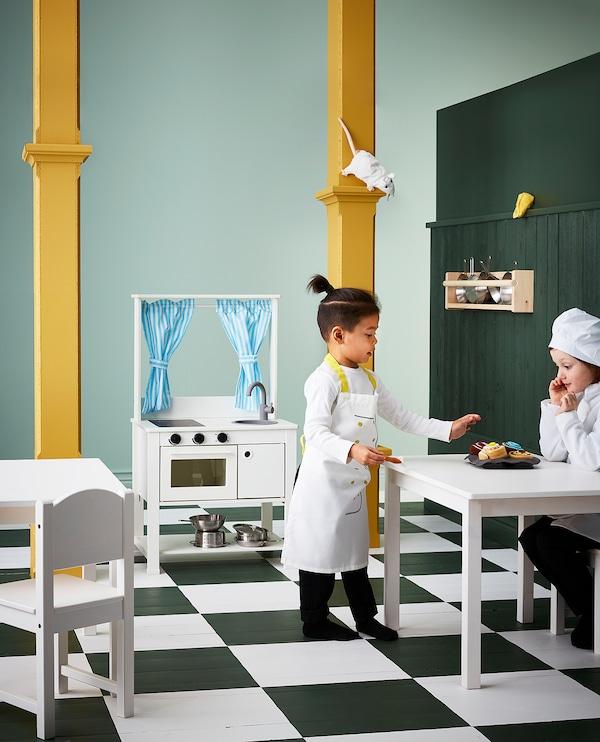 SPISIG play kitchen with curtains 55 cm 37 cm 98 cm