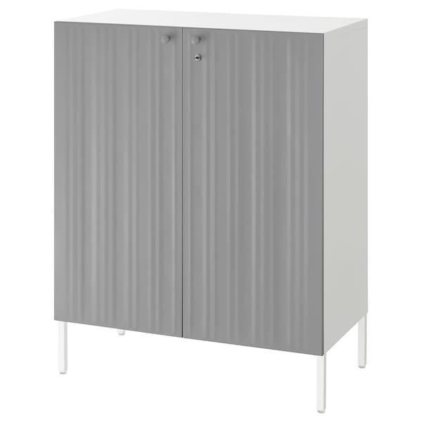 SPONGDAL Storage unit with 2 doors, grey, 80x42x98 cm