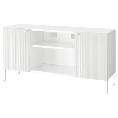 SPONGDAL TV bench, white, 140x42x69 cm