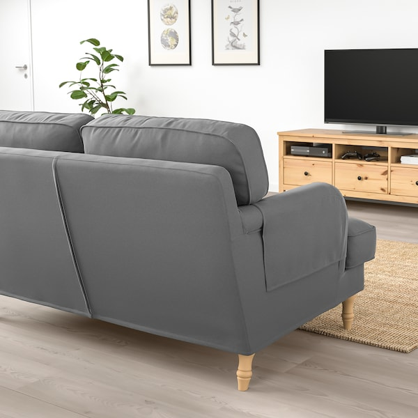 STOCKSUND 3-seat sofa, Ljungen medium grey/light brown/wood