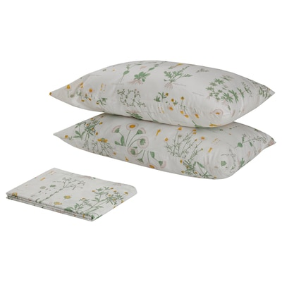 STRANDKRYPA Flat sheet and 2 pillowcase, floral patterned/white, 240x260/50x80 cm