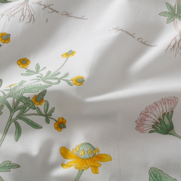 STRANDKRYPA flat sheet and 2 pillowcase floral patterned/white 152 /inch² 2 pack 50 cm 80 cm 240 cm 260 cm