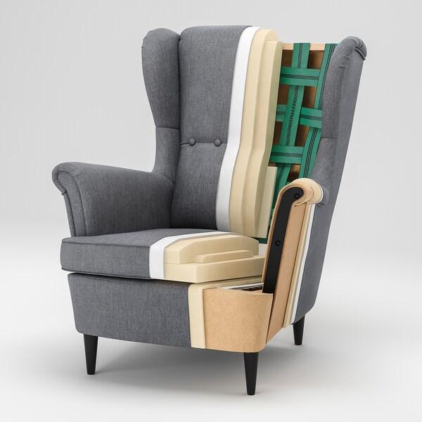 STRANDMON Wing chair, Skiftebo light beige