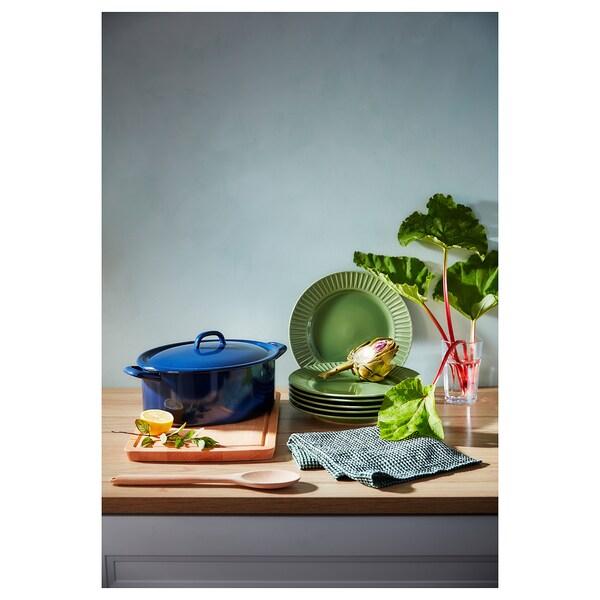 STRIMMIG plate stoneware/green 27 cm