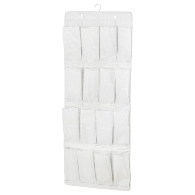 STUK Hanging shoe organiser w 16 pockets, white/grey, 51x140 cm