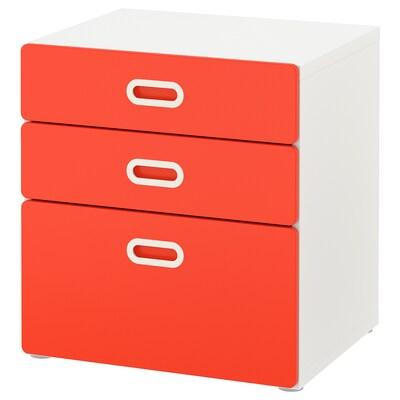STUVA / FRITIDS Chest of 3 drawers, white/red, 60x64 cm
