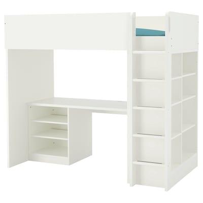 STUVA Loft bed combo w 2 shlvs/3 shlvs, white, 207x99x182 cm