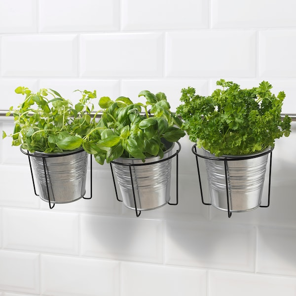 SVARTPEPPAR Plant pot holder, in/outdoor black, 16 cm