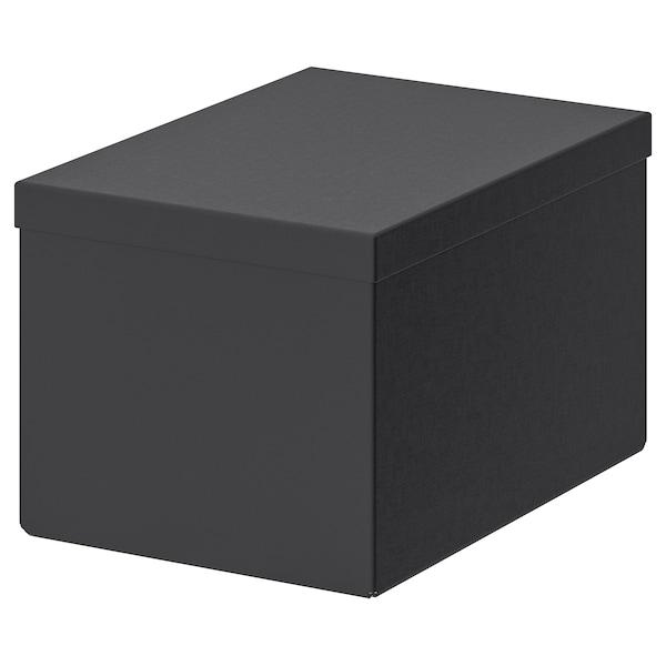 TJENA Storage box with lid, black, 18x25x15 cm