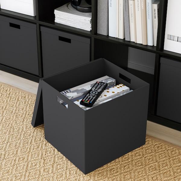TJENA Storage box with lid, black, 32x35x32 cm