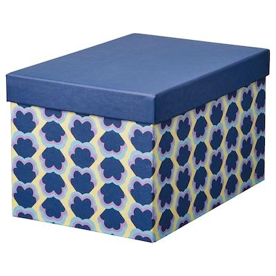 TJENA Storage box with lid, blue/patterned, 18x25x15 cm