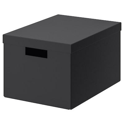 TJENA storage box with lid black 35 cm 25 cm 20 cm