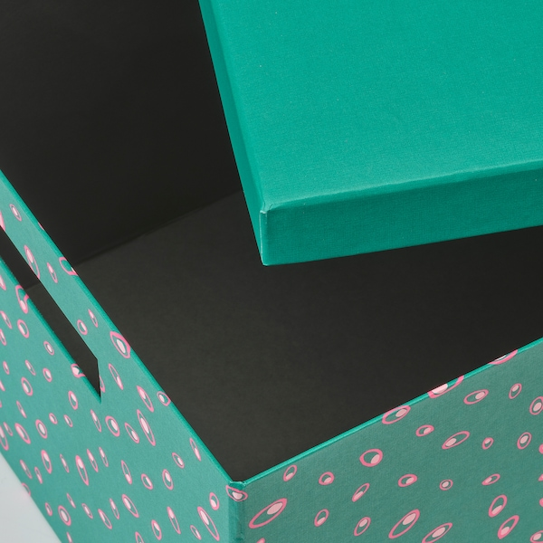 TJENA storage box with lid green dotted 35 cm 25 cm 20 cm