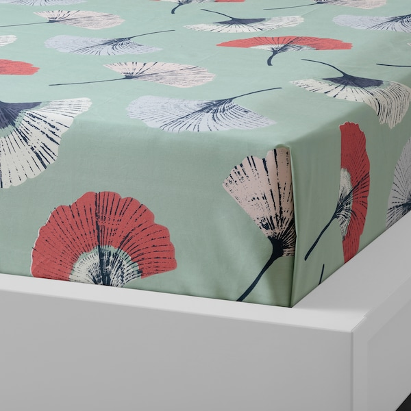 TOVSIPPA Flat sheet and 2 pillowcase, turquoise, 240x260/50x80 cm