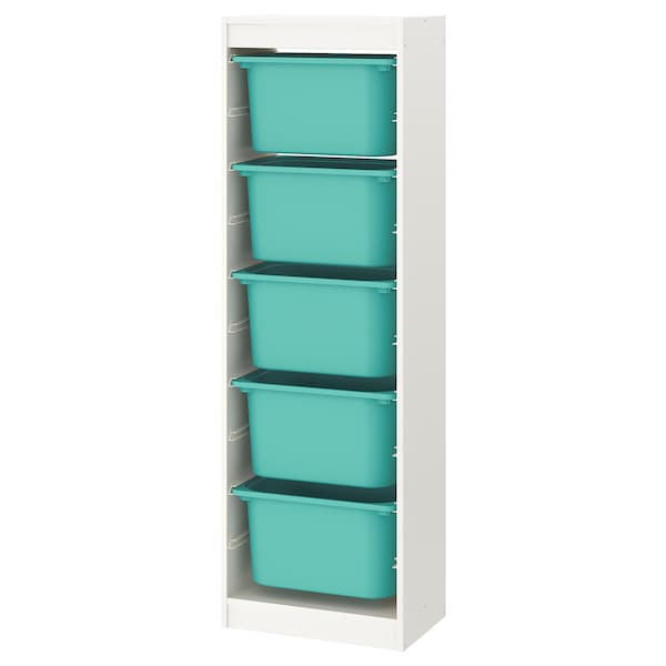 TROFAST Storage combination with boxes, white/turquoise, 46x30x146 cm