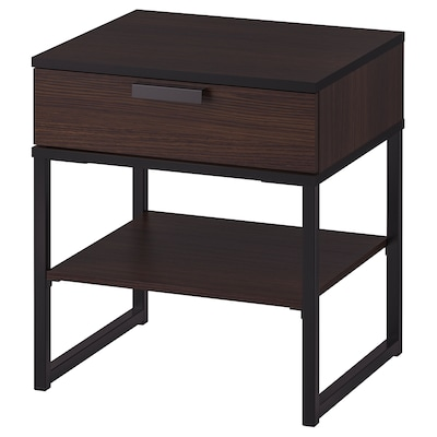 TRYSIL Bedside table, dark brown/black, 45x40 cm