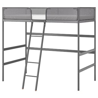 TUFFING Loft bed frame, dark grey, 90x200 cm