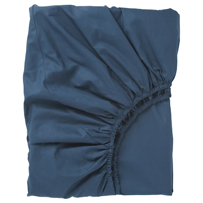 ULLVIDE fitted sheet dark blue 200 /inch² 200 cm 90 cm
