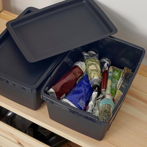 UPPSNOFSAD Storage box with lid, black, 25x17x12 cm/4 l