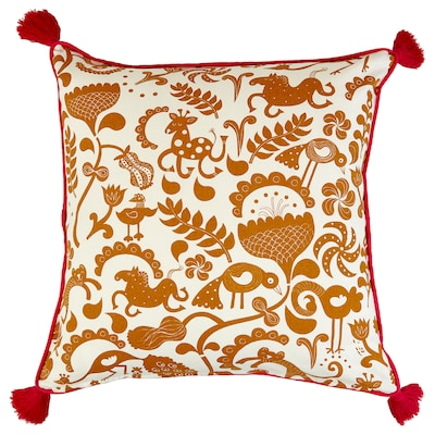 URSPRUNGLIG Cushion cover, white/golden-brown, 50x50 cm