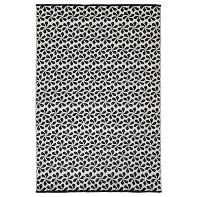 URSPRUNGLIG Rug, flatwoven, black/white, 133x195 cm